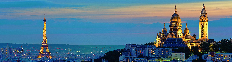 Tour Eiffel et Sacr Coeur au coucher de soleil