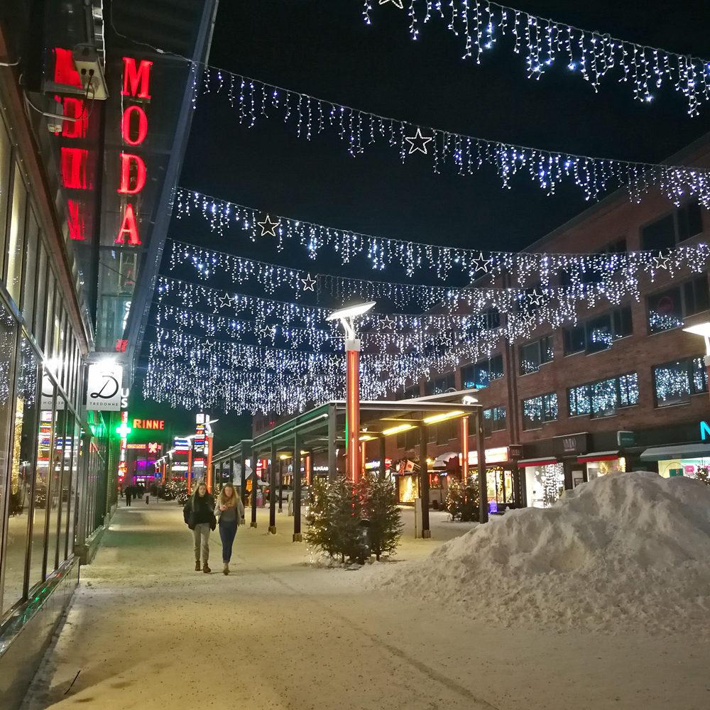 Fußgängerzone Rovaniemi, Finnisch Lappland